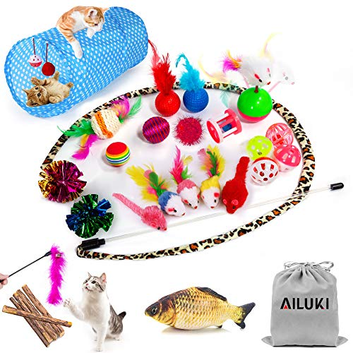 AILUKI 29 PCS Cat Toys Kitten Toys Assortments, Variety Catnip Toy Set Including 2 Way Tunnel,Cat Feather Teaser,Catnip…