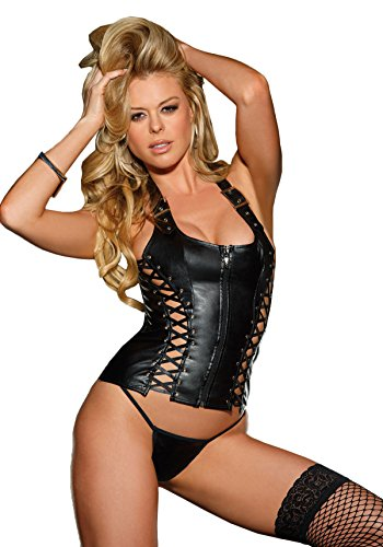 Shirley of Hollywood Women's Lace Up Faux Leather Corset with Zipper and (Shirley Of Hollywood Lace Up Corset)