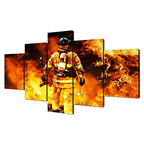VIIVEI Firefighters Fireman Canvas Wall Art Prints Home Decor Decals Gifts for Living Room Modern Pictures Artwork 5 Panel Large Posters HD Printed Painting Framed Ready to Hang (60