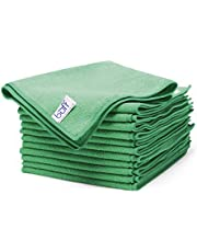 "Buff Microfiber Cleaning Cloth | Green (12 Pack) | Size 16"" x 16"" 