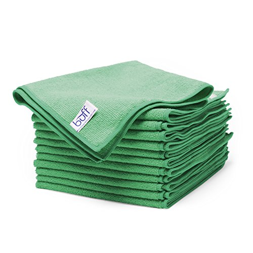 (Buff Microfiber Cleaning Cloth | Green (12 Pack) | Size 16