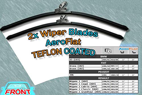 [S950/22/20] Escobillas de limpiaparabrisas Aero Style/Kit - 2 x cuchillas delanteras 22 [550 mm] / 20 [500 mm] Fit Peugeot 306 / Renault Mégane I: ...