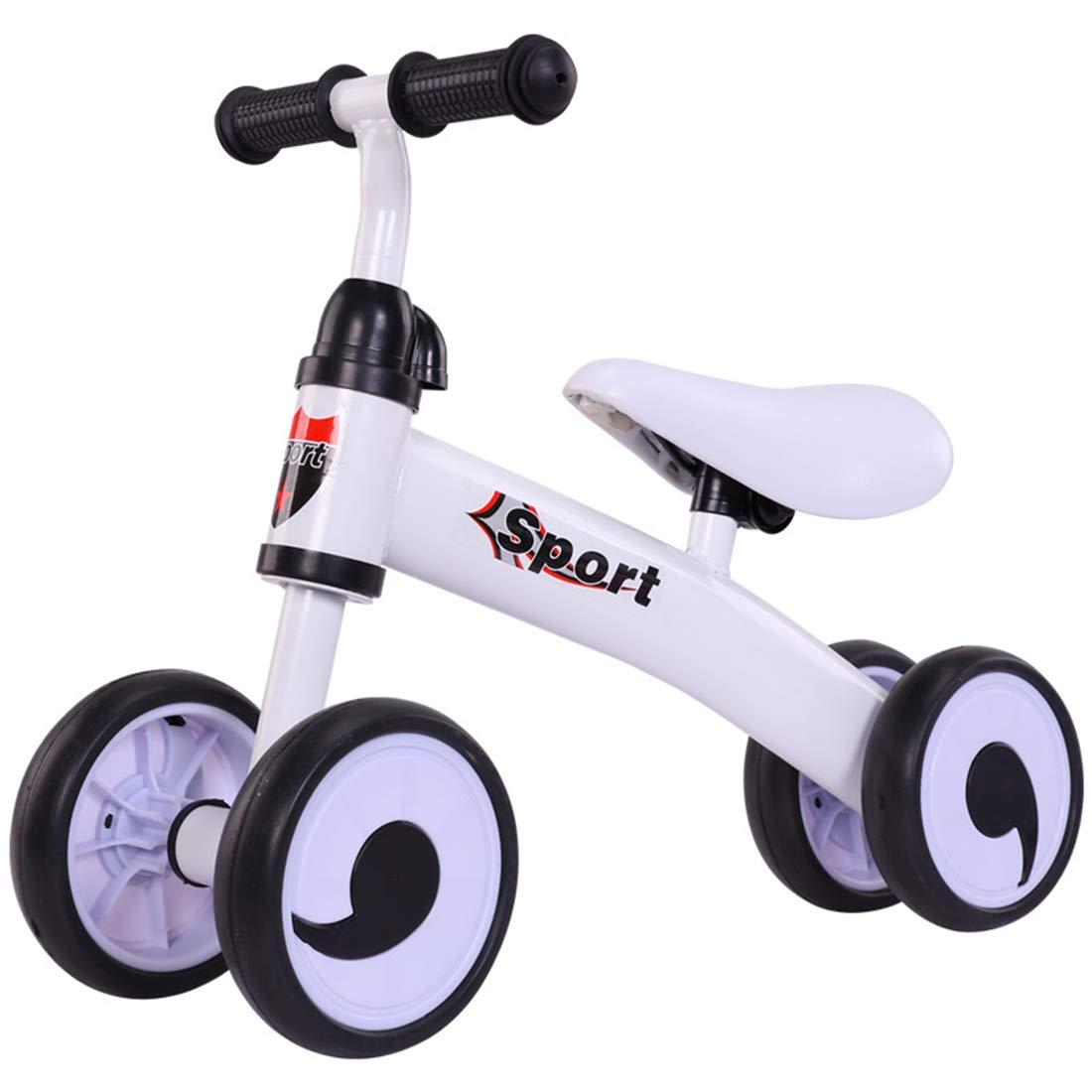 GRXXX Kinder-Vierrad-Balance Car Slide Car ohne Pedal Roller Spielzeugauto 1-3 Jahre alt,Blau-OneGröße Weiß OneGröße