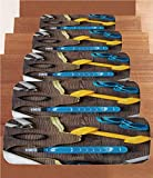 Non-Slip Carpets Stair Treads,Fitness,Preparing to Fitness Sports Equipment on Wood Board Concept Swimming Exercise Print Decorative,Multicolor,(Set of 5) 8.6''x27.5''