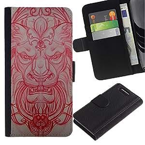 WonderWall ( No Para Xperia Z1 ) Fondo De Pantalla Imagen Diseño Cuero Voltear Ranura Tarjeta Funda Carcasa Cover Skin Case Tapa Para Sony Xperia Z1 Compact D5503 - león arquitectura medieval talla rojo