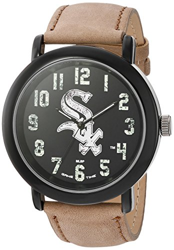 Sox Watch Game White Chicago (Game Time Men's 'Throwback' Quartz Metal and Leather Casual Watch, Color Beige (Model: MLB-TBK-CWS))