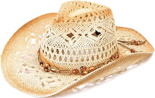 Men / Women's Straw Cowboy Hat with Beaded Trim and Shapeable Brim,Brown (Authentic Cowboy Hats)