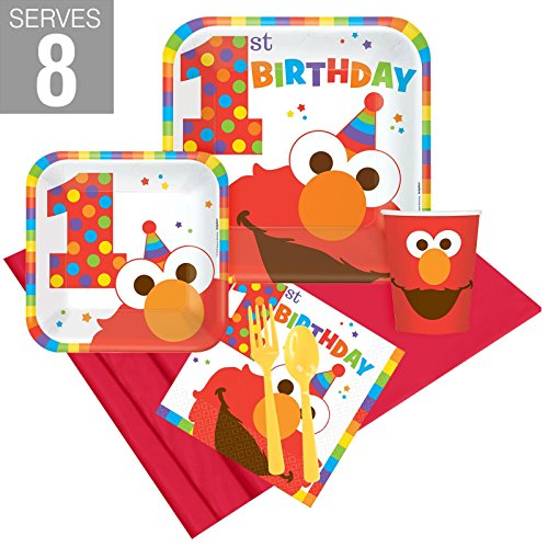 BirthdayExpress Elmo Turns One Party Supplies Party Pack for 8