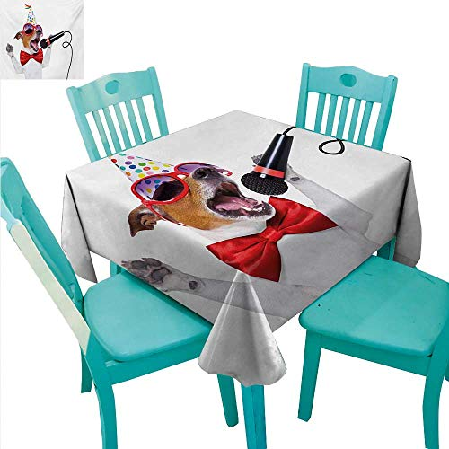 Popstar Party Square Polyester Tablecloth Jack Russel Dog with Sunglasses Party Hat and Bowtie Singing Birthday Song Washable Polyester - Great for Buffet Table, Parties, Holiday Dinner, Wedding & Mo (Singing Birthday Balloons)