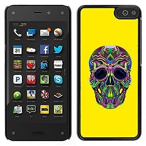 // PHONE CASE GIFT // Duro Estuche protector PC Cáscara Plástico Carcasa Funda Hard Protective Case for Amazon Fire Phone / Hippie Lsd Weed Yellow Skull Deep /