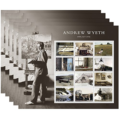 Andrew Wyeth 5 Sheets of 12 USPS First Class Postage Stamps American Artist - Time First Class Usps