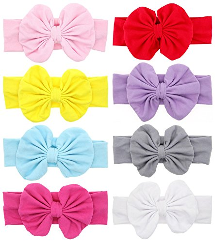 Baby Headbands Turban Knotted, Girl's Hairbands for Newborn,Toddler and Childrens (8pcs and bows) ()