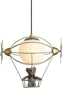 Mopoq Gold Modern Children's Room Pendant Light Boy/Girl Bedroom Height Adjustable Hanging Lamp Creative Hot Air Balloon Metal Kids Pendant Lamp for Restaurant Nursery, Round Glass Lampshade E27 L34 ×