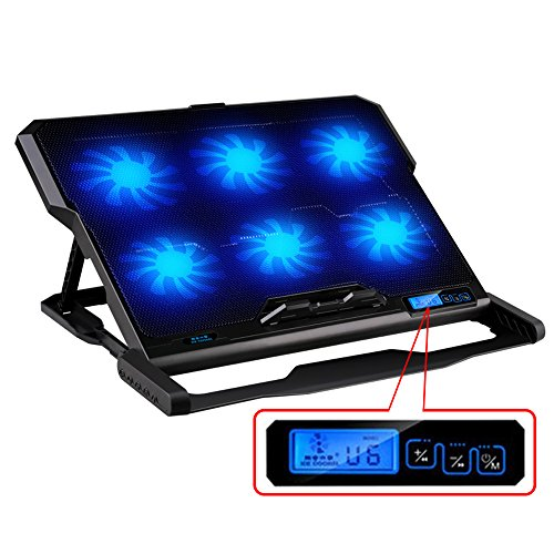 Laptop Cooler, ICE COOREL Super Mute 6 Fans Laptop Notebook Computer Fan Base Plate Laptop Cooling Base Pad CPU Coolers Radiators Cooling Rack Stand for PC, Macbook Laptop Notebook (Black) (Laptop Stand Cooling compare prices)
