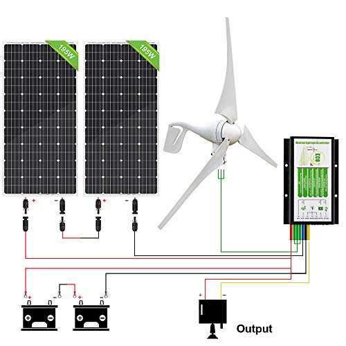 ECO-WORTHY 800W 12V/24V Solar Wind Turbine Generator Kit: 400W Wind Turbine+ 2pcs 195W Solar Panel for Homes Boat Charge Battery