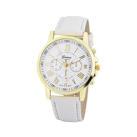 Bestow Moda Mujer Geneva Roman Geneva Reloj Mujer Numerals Faux Leather Analog Quartz Wrist(Blanco): Amazon.es: Ropa y accesorios