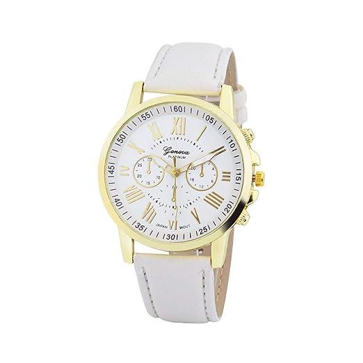 Reloj de Pulsera para Mujer Moda Ginebra Números Romanos Reloj de Cuarzo Analógico Cuero de Imitación de Las Mujeres SHJIRsei: Amazon.es: Relojes