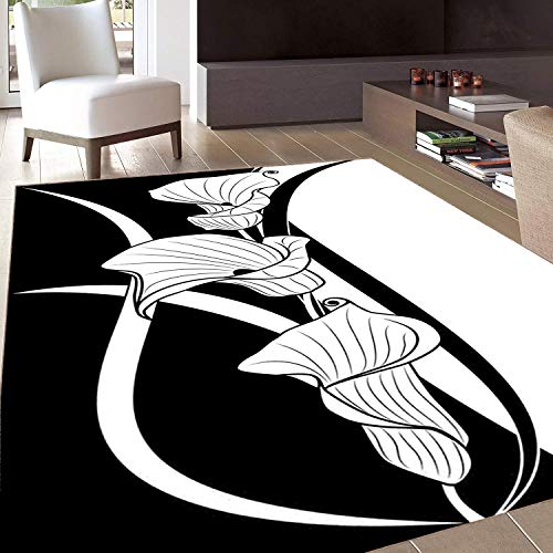 Rug,Floor Mat Rug,Art Nouveau,Area Rug,Crevalle Blossom Background in Contrasting Tones Artistic Illustration,Home mat,4'x6'Black and White,Rubber Non Slip,Indoor/Front Door/Kitchen and Living Room/Be