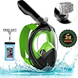 Poppin Kicks Full Face Snorkel Mask for Adult Youth and Kids | 180° Panoramic View Anti-Fog Anti-Leak Easy Breathe | GoPro Compatible w/Detachable Camera Mount