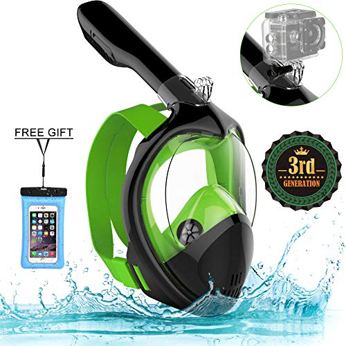Poppin Kicks Full Face Snorkel Mask for Adult Youth and Kids | 180° Panoramic View Anti-Fog Anti-Leak Easy Breathe No Mouthpiece Design | GoPro Compatible w/Detachable Camera Mount Lime S/M