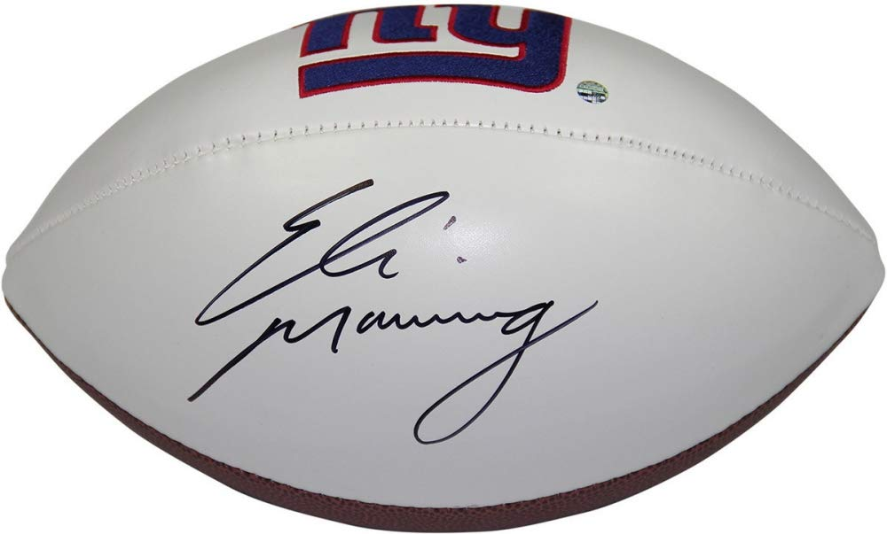 Eli Manning New York Giants Signed Autograph Embroidered Logo Football Steiner Sports Certified