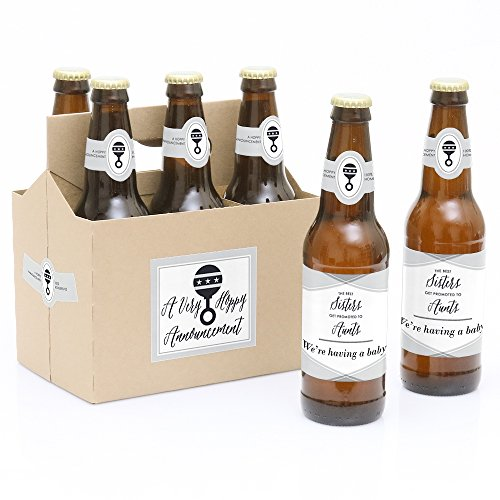 Sisters to Aunts - 6 Pregnancy Announcement Beer Bottle Labels with 1 Beer Carrier