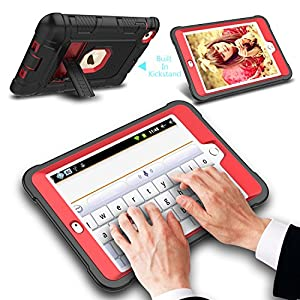 iPad Mini Case, Mini 2 Case, Mini 3 Case, Venoro [Kickstand Feature] Shockproof Heavy Duty Hybrid Three Layer Armor Defender Protective Case Cover for iPad Mini 1/2/3 (Black/Red)