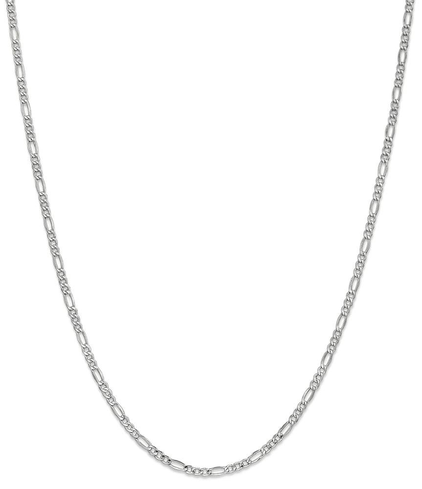 ICE CARATS 14k 2.5mm White Gold Link Figaro Chain Necklace 16 Inch Fine Jewelry Gift Set For Women Heart
