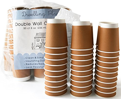 (Premium 8 oz Disposable Coffee Cups with Lids (50 Ct) - Use your Coffee Maker at Home then Pour into this Paper Travel Cup, Skip Starbucks & Brew your Own)