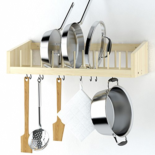 Kitchen Wood Wall Mounted Rack Shelf with Metal Rail and 10 S Hooks Pot Pan Plate Lid Kitchenware Towel Shelf Storage Display Organizer Sturdy No Finish Wooden Material