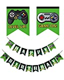 Video Game Happy Birthday Banner, Extra Large Gaming Party Supplies with Game On & Level Up Controller Pictures, Party Favors Decorations for Boys and Kids Gamer Birthday Party