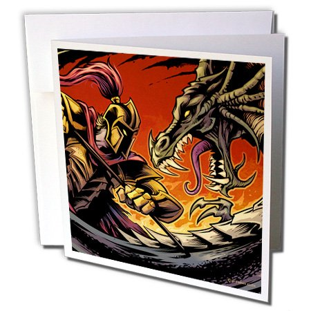 3dRose Gladiator Fighting A Dragon with A Fire Background - Greeting Card, 6