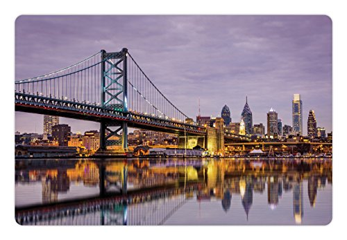 Lunarable USA Pet Mat for Food and Water, Ben Franklin Bridge and Philadelphia Skyline Setting Sun Reflections on Water, Rectangle Non-Slip Rubber Mat for Dogs and Cats, Lilac Orange Yellow