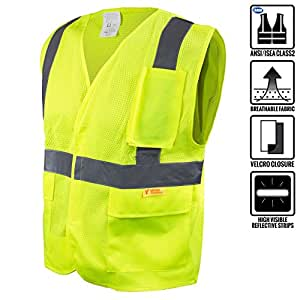 RK Safety 8512 High Visibility Safety Vest with Reflective Strips and Pockets - ANSI/ ISEA Standard- Class 2 (4XL, Neon Yellow)