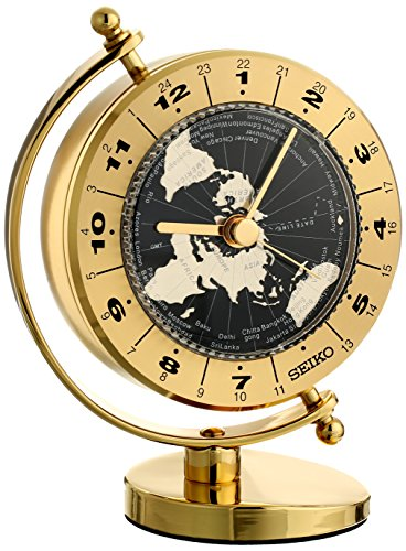 Seiko Desk and Table World Time Clock Solid Brass Case (Seiko Brass Clock)