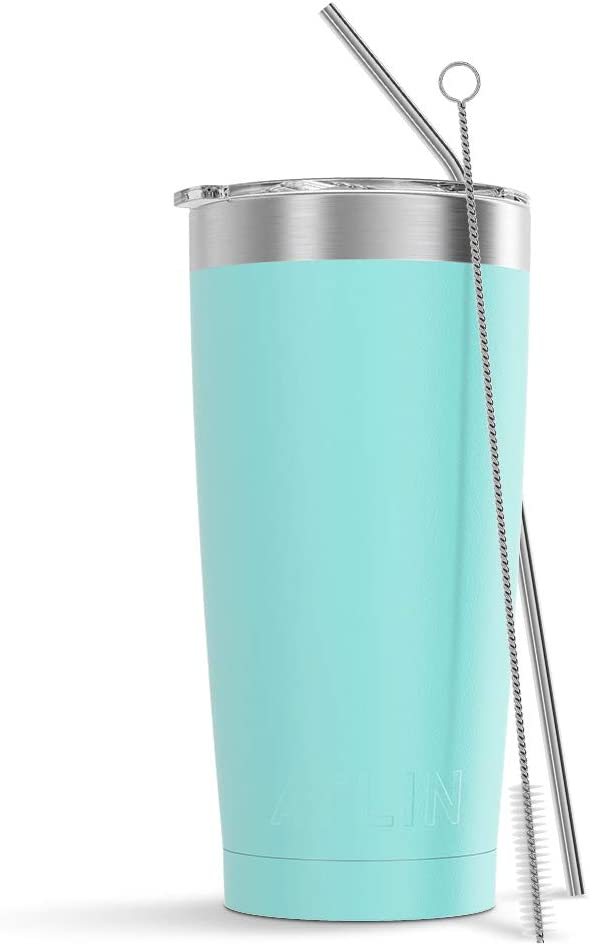 Atlin Tumbler [20 oz. Double Wall Stainless Steel Vacuum Insulation] Travel Mug [Crystal Clear Lid] Water Coffee Cup [Straw Included] (Light Blue) For Home,Office,School, Ice Drink, Hot Beverage