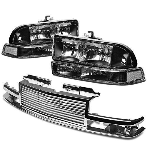 Chevy S10/Blazer GMT 325/330 Headlight (Black Housing)+Front Grille (Chrome) (S10 Chevy Blazer Headlight)