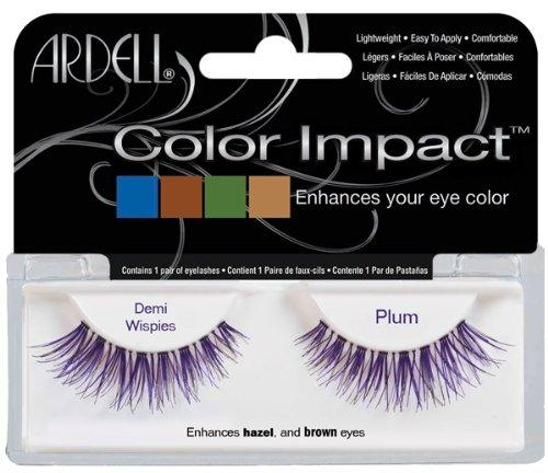 Colored False Eyelashes (Ardell Color Impact Fake Eyelashes, Demi Wispies Plum)