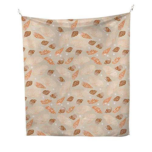 Pearls Decorationcool tapestryPattern with Pearls Seashells an Oysters Natural Marine Life Style Decor Beach Theme 57W x 74L inch Tapestry for wallTan Peach ()