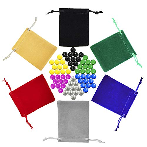 - Chinese Checkers Marbles, Glass Replacement Game Marbles, Set of 66, 11 of each Color, with 6 Small Velvet Drawstring Pouches and 1 Large Velvet Drawstring Pouch