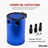 #8: Sporacingrts Compact Black Baffled 3-Port Oil Catch Can 2 Inlets 1 Outlet Blue