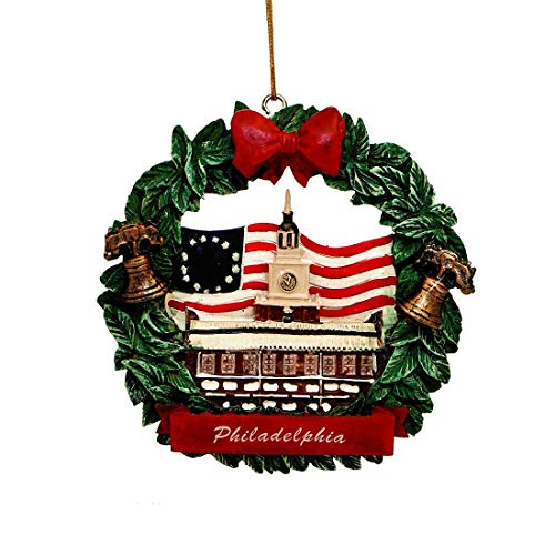(City-Souvenirs Philadelphia Christmas Ornament Wreath Resin 3.5 Inches)