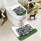 Muyindo Toilet carpet floor mat NFull of Soccer Balls the Football Field Schoolyard Victory 2 Piece Shower Mat set