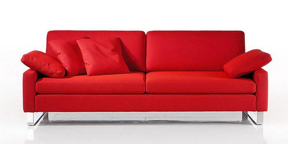 Calia Maddalena–Sofa Typ Romina, Leder Buffalo Divano 3 posti 2 sedute 198cm Pelle Buffalo Rosso Ferrari