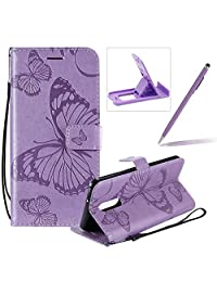 Strap Leather Case for LG Stylo 5,Wallet Leather Case for LG Stylo 5,Herzzer Premium Stylish Pretty 3D Purple Butterfly Printed Magnetic Soft Rubber Stand Case with Card Slots