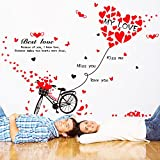 Valentine's Day Bicycle Love Wall Decals Quotes Stickers Vinyl Peel & Stick Mural Art Wallpaper Family Kids Baby Bedroom Living Room Nursery Room DIY Decor Home Letters Removable (Bicycle)