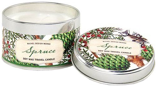 - Michel Design Works Soy Wax Candle, Travel Tin Size, Spruce