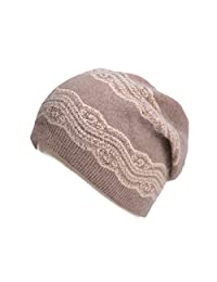 Lawliet Womens Wool Crochet Rhinestone Beanie Beret Warm Winter Lace Trim Hat T269