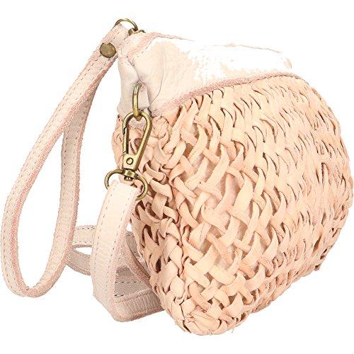 In Made Cm Mano Italy Rosa Donna Borse Pelle Vintage Chicca Con A Borsetta 28x19x2 Tracolla Vera Da Intrecciata wnFtfOzqa