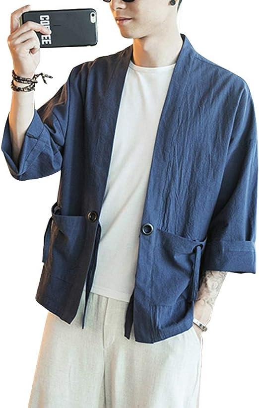 Shaoyao Hombres Kimono Camisa Chaqueta Retro Tradicional Estilo Chino Abrigos: Amazon.es: Ropa y accesorios
